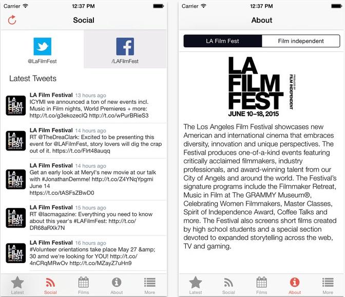 LAFF festival app screenshots