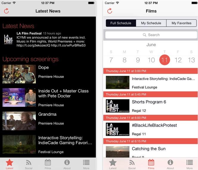 LAFF festival app screenshots 2