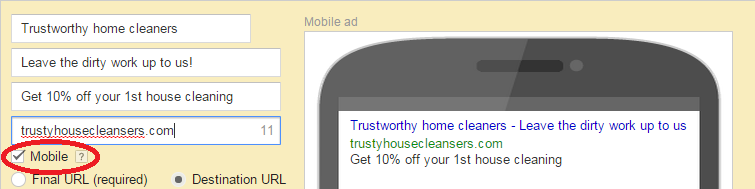 home cleaner mobile ad