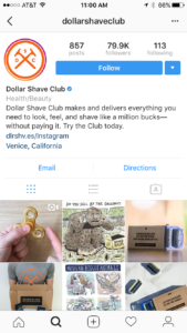 Instagram brand profile page